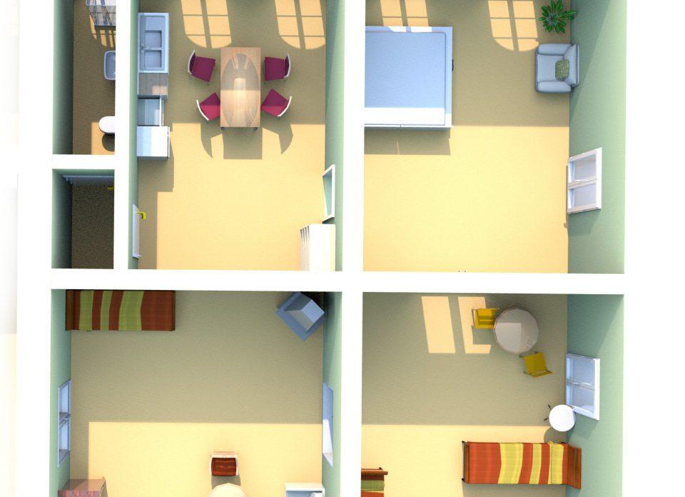 Antiker Tisch und Stuhl in der Ferienwohnung Malwida